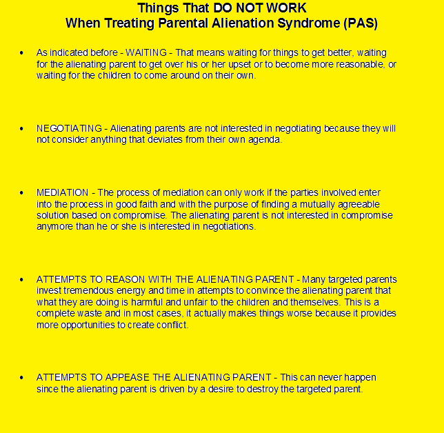 Things That DO NOT WORK When Treating Parental Alienation