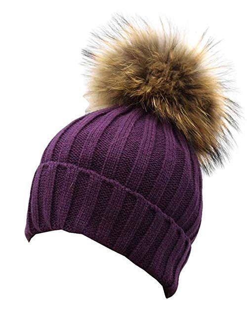 1c940416fdc Gellwhu Women Winter Real Fur Pom Pom Knit Slouchy Beanie Hat for Men Girls  Boys Review