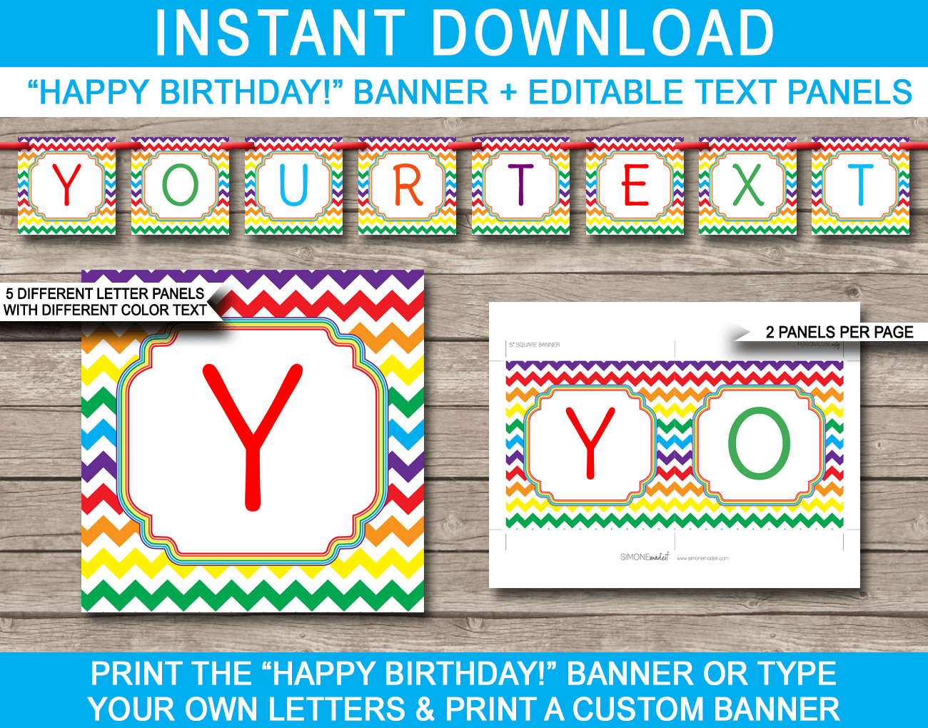 Rainbow Party Invitations Template In 2020 Happy Birthday Banners Party Banner Party Banner Template