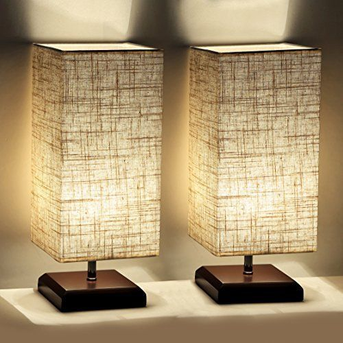 House Plants For Shady Rooms: Wood Table Lamp Flaxen Fabric Shade Home Bedroom Living