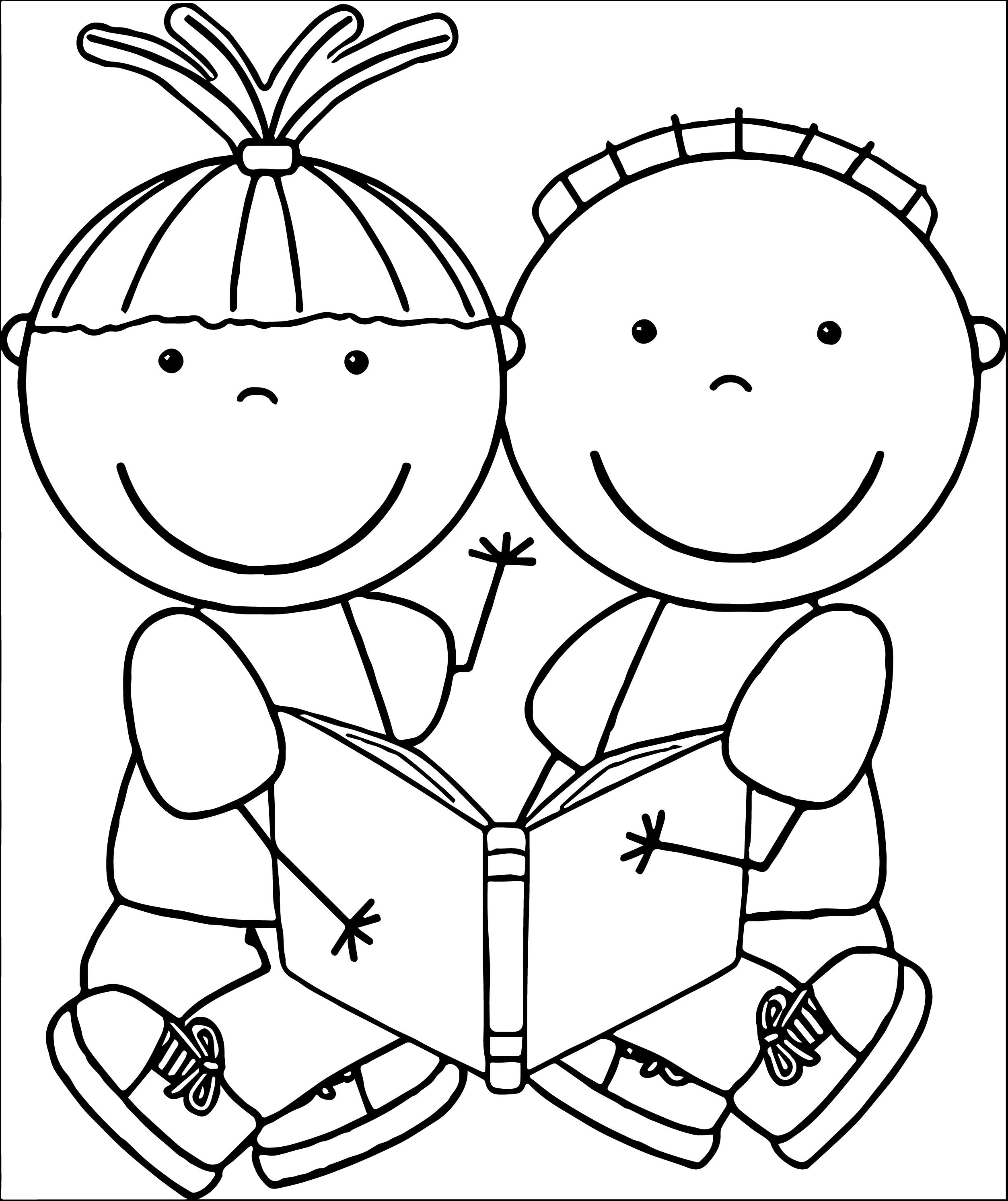 Free Educational Clipart Free Clip Art Children Reading Books 202 417 Kids We Coloring Page