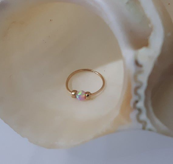 Pink opal Nose Ring,tiny opal Piercing,nose ring jewelry,24g nose ring,thin wire nose ring,gold nose ring,opal piercing hoop #nosering