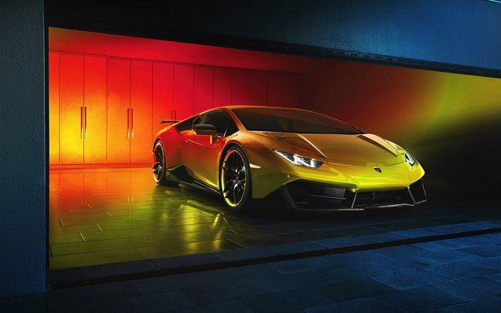 Download Wallpapers Lamborghini Huracan Garage 2017 Cars Supercars Golden Huracan Lamborghini