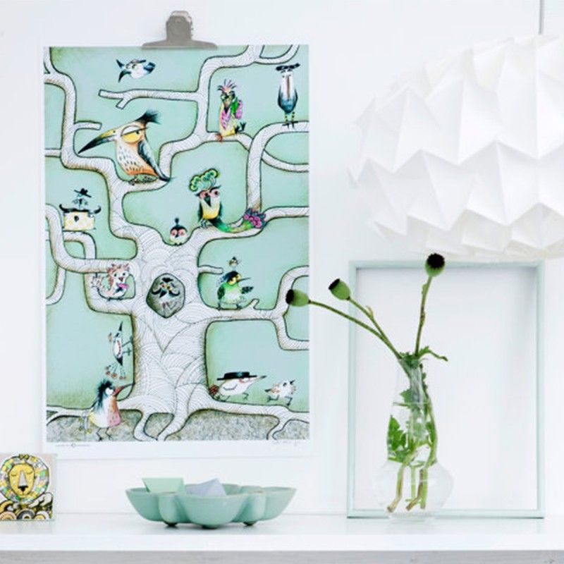 Sofie Børsting Plakat A3 Bird Tree Mint
