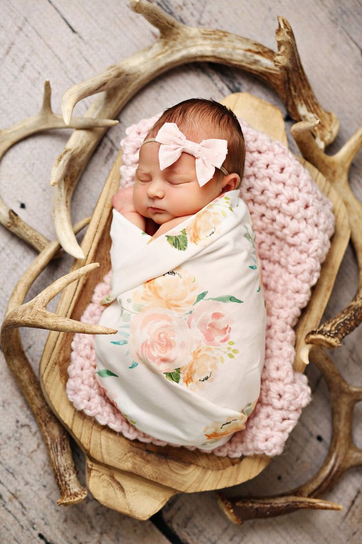 Peach And Coral Pink Farmhosue Floral Swaddle Baby