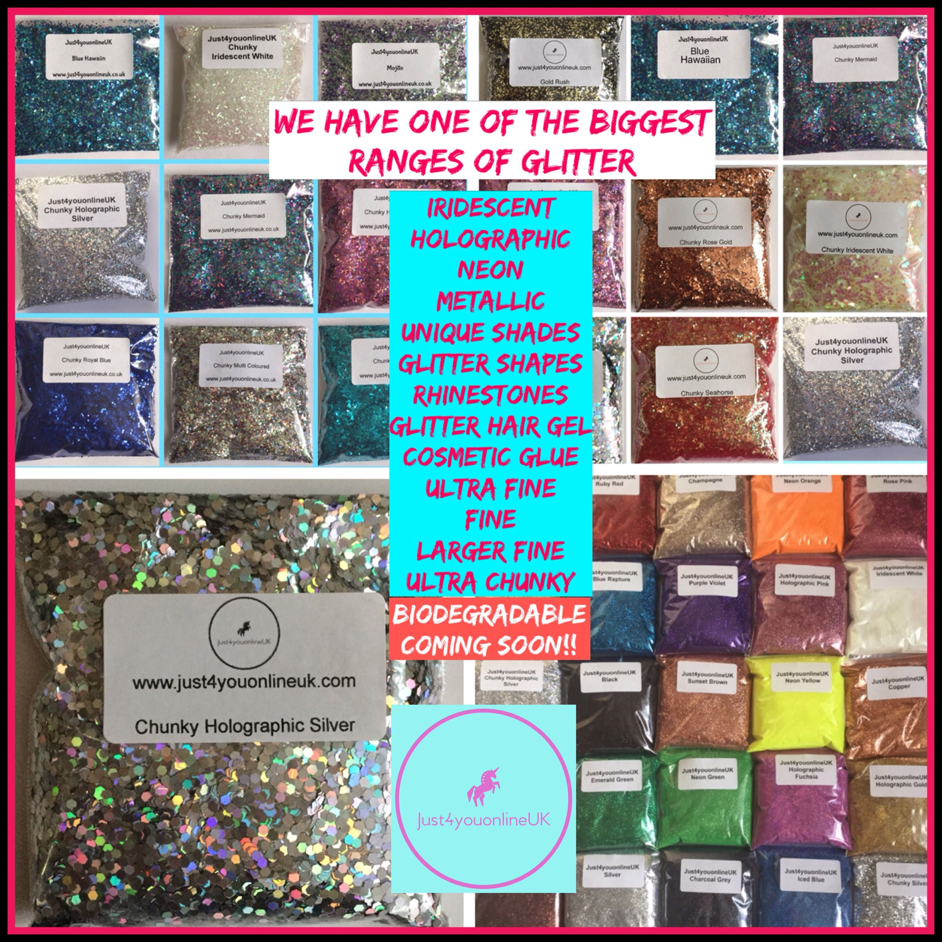 Unique glitter shades and flake sizes suitable for any