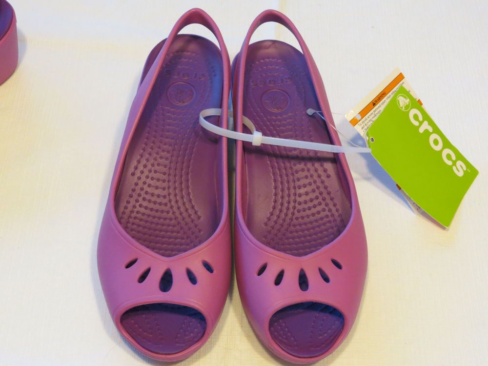 Womens crocs mabyn mini wedge wild orchid RARE sandal shoe W 10 strappy sexy