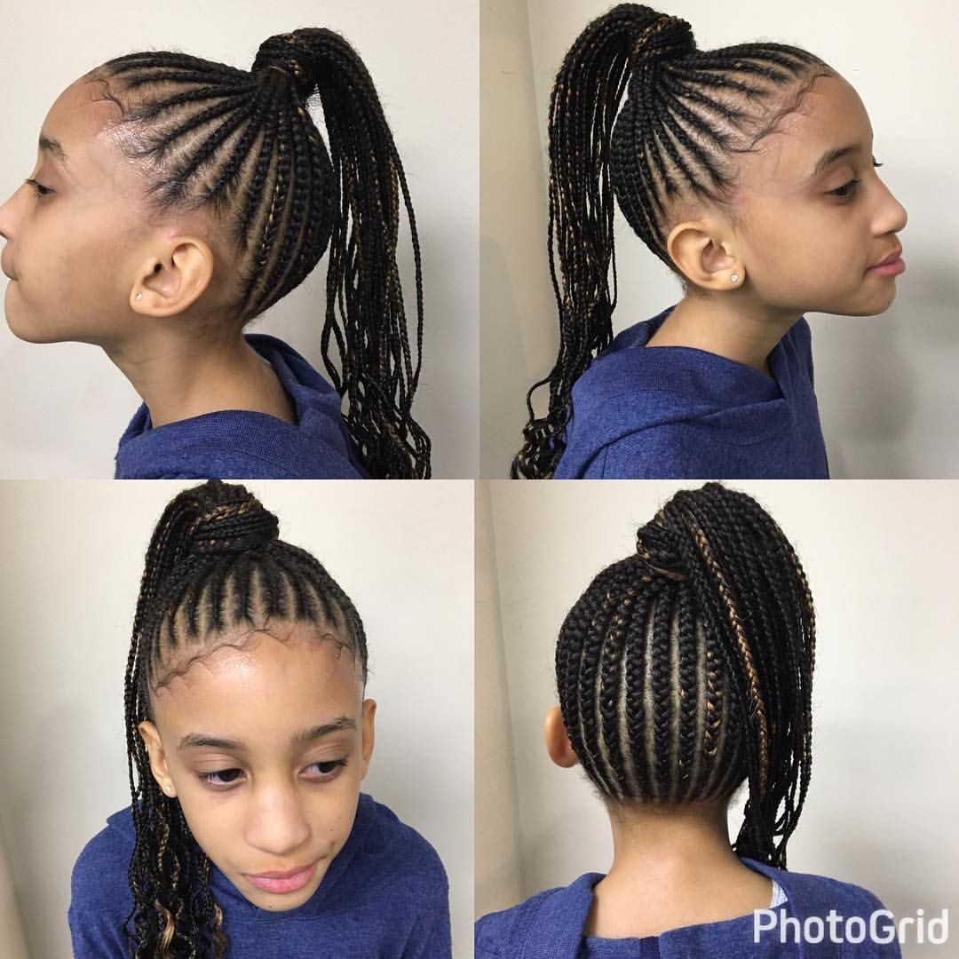 Kidshair Braids Braidstyles Lyfestylzsalon Kids Hairstyles Cornrow Ponytail Girls Natural Hairstyles