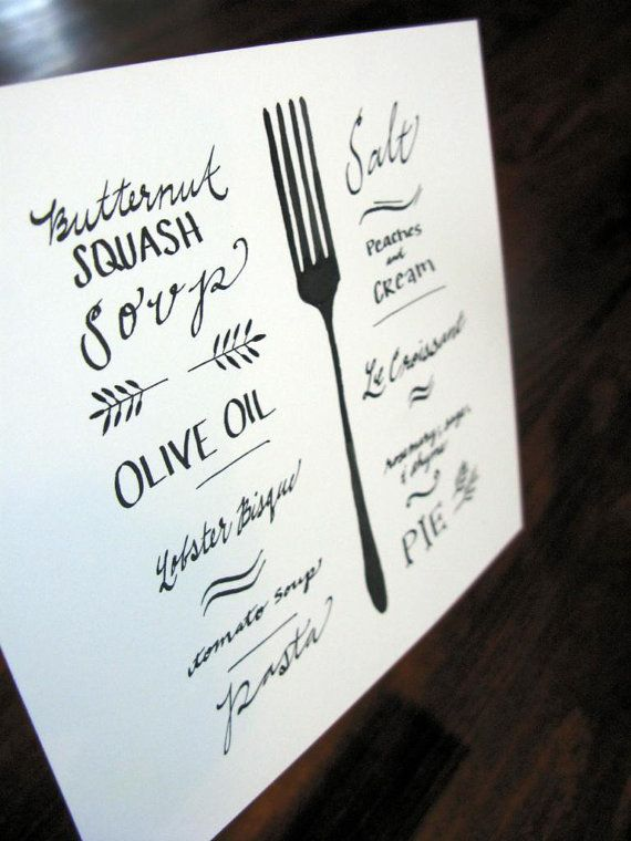 Watercolor and calligraphy drawing ART PRINT kitchen wall decor, black and white decor, recipe decor, fork drawing