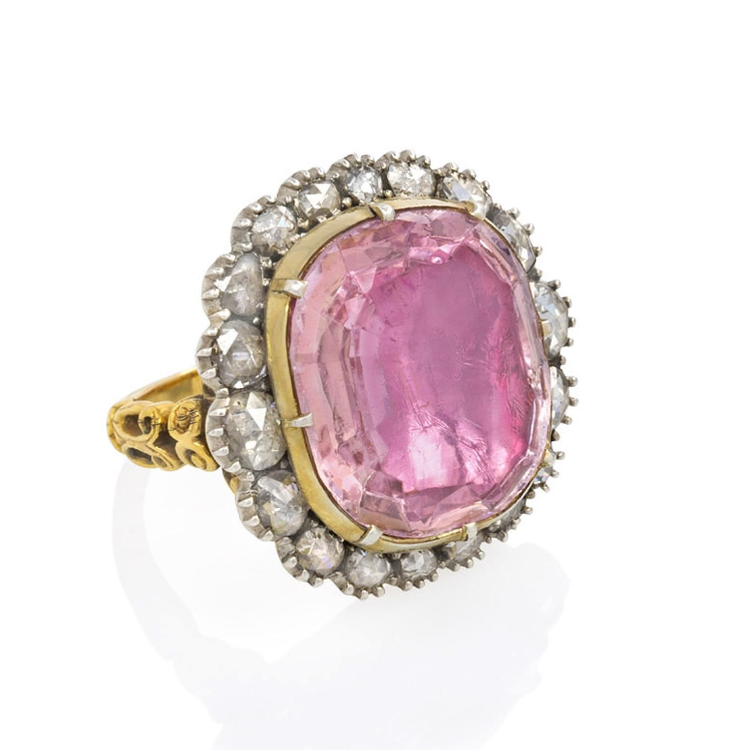 Kentshire antique cushion-cut, foiled pink topaz ring | Diseño ...