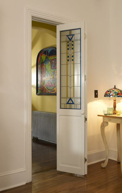 Stained Glass Door With Blue And Yellow Accent Artiste Bifold
