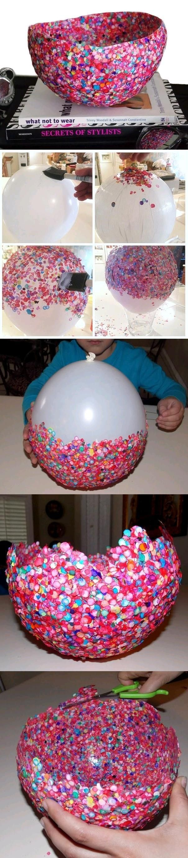 Easy, but creative vase. Blow up a large balloon and paint the rounded bottoom part with ModgePodge; sprinkle confetti all over the bottom of it, filling in all areas and then apply more ModgePodge and adding more confetti to fill in every space and even overlapping areas (to make the vase stronger).  Then, cover with one final coat of ModPodge and allow to dry completely (for a few days).  Then, cafefully pop the balloon with a pin and throw it out.  Trim the vase as desired.