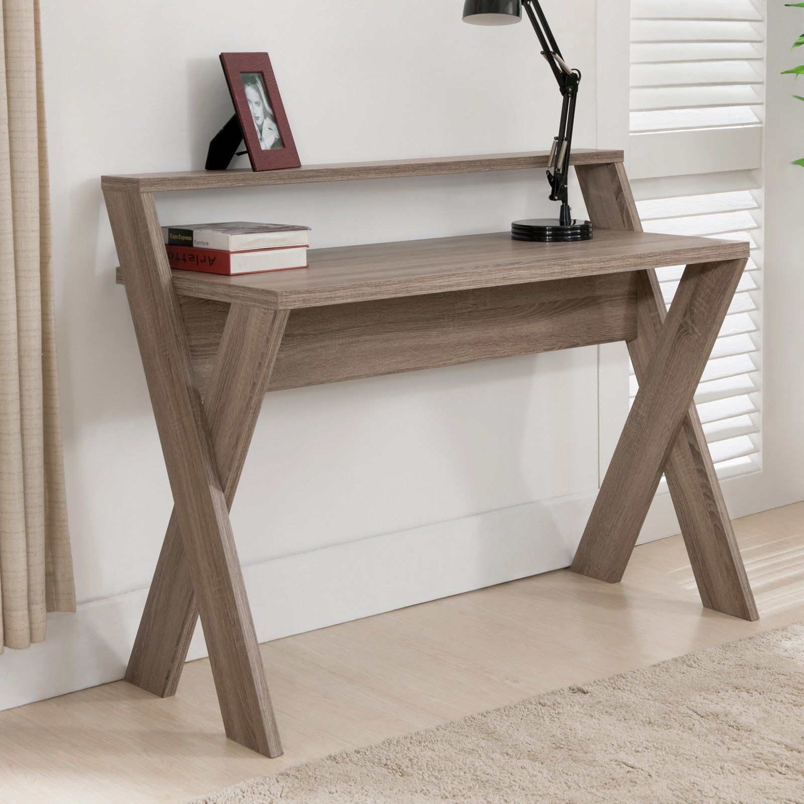 Furniture Of America Parker 2 Tier Desk Create A Beautiful Workspace All Your Own With The Furnitur Modern Wood Furniture Furniture Diy Wood Pallet Furniture