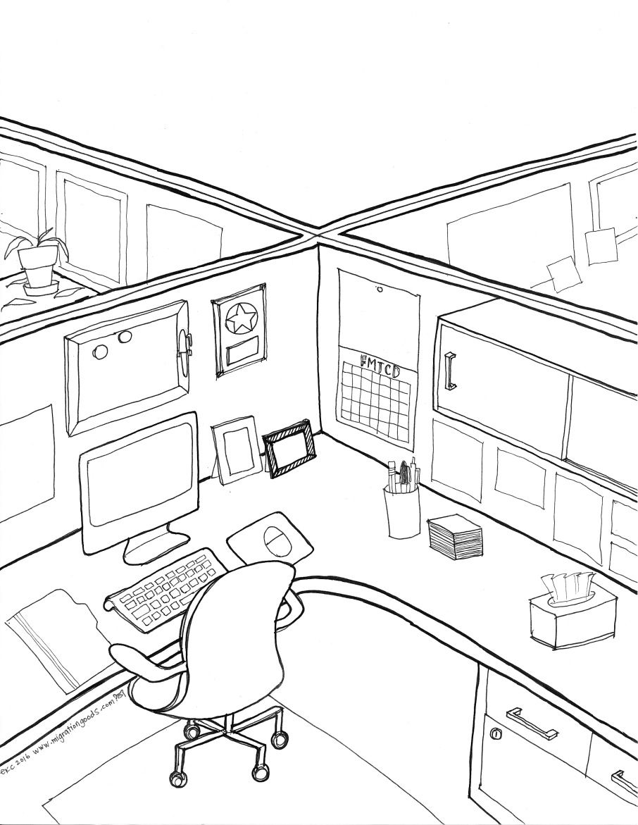 Cubicle Coloring Page by Migration Goods (With images