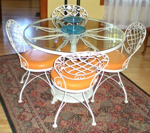 woodard u0026 sons chantilly rose wrought iron patio glasstop table 4 swivel chairs