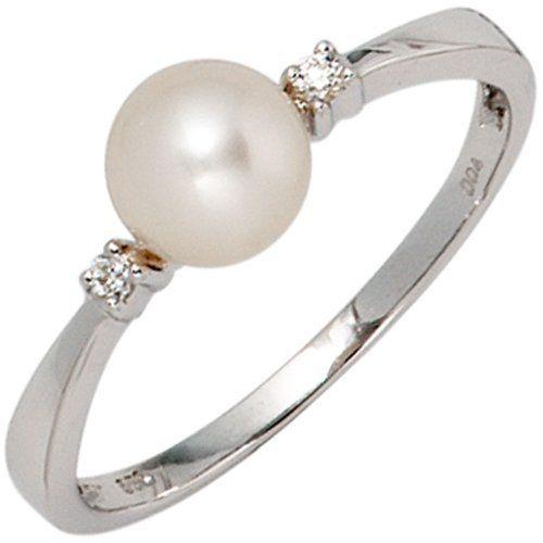 Damen-Ring 1 Süßwasser-Zuchtperle 14 Karat (585) Weißgold 2 Diamant 0.04 ct. 52 (16.6) Dreambase, http://www.amazon.de/dp/B00AB3VOYM/ref=cm_sw_r_pi_dp_Dzjjtb05QSY7M