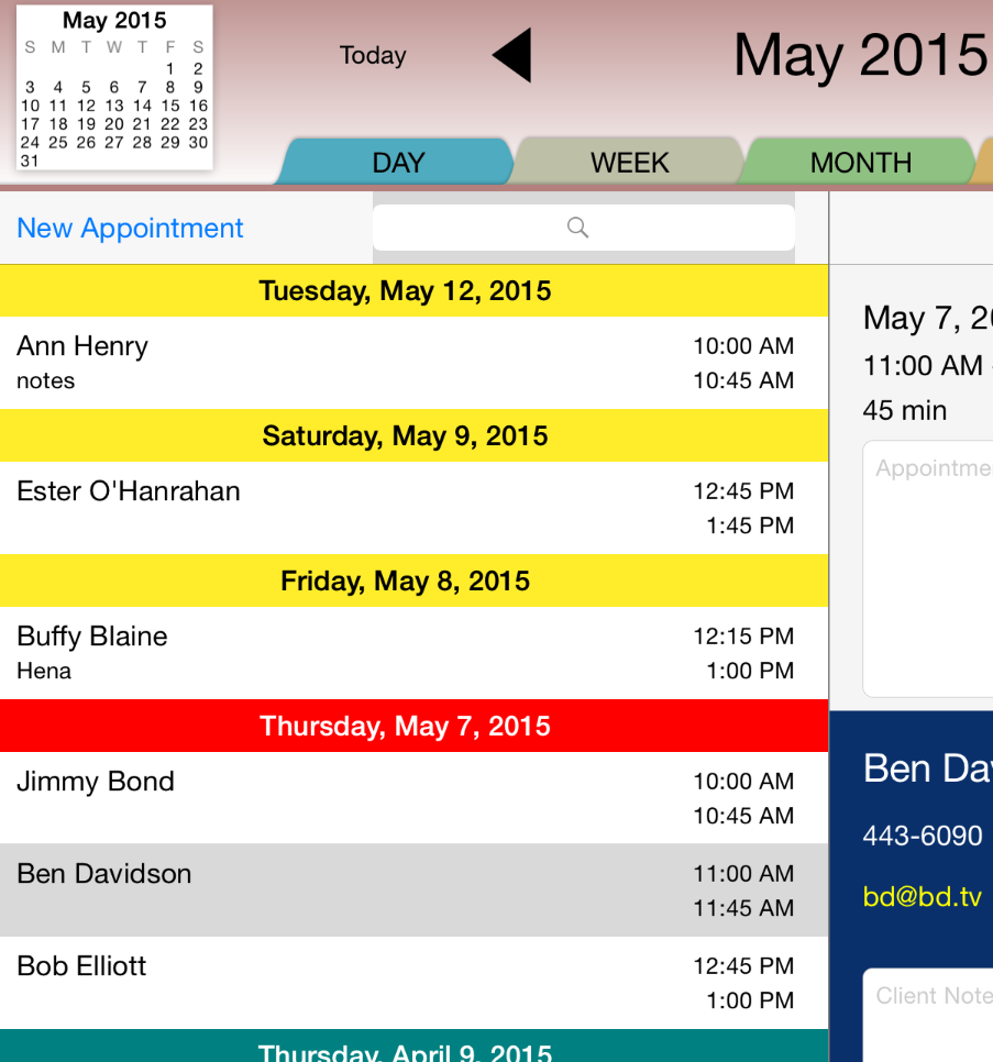 The Rendezvous List View includes a scrolling list of