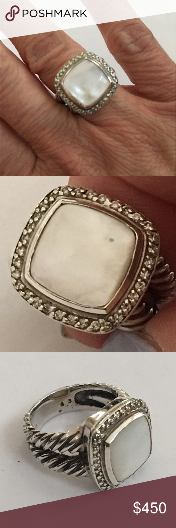 0013a0d1abb7d David Yurman 11mm Mother of Pearl Albion Ring 6.5 This is a preowned ...