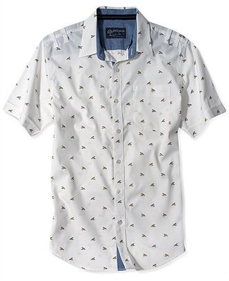 American Rag Shirt, Duck Print Short Sleeve Shirt - Casual Button ...