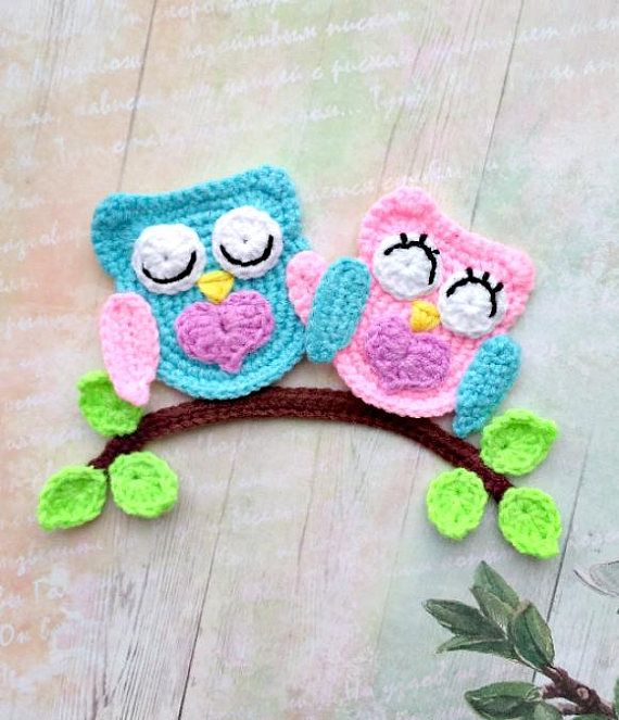 PATTERN Loving Owls Applique Crochet Pattern PDF Owl Crochet Applique Valentine's Day Gift Owls Love Motif Ornament for Baby for Blanket ENG #crochetclothes
