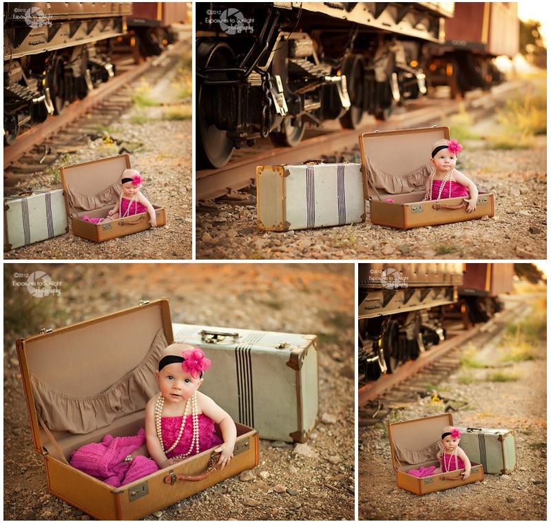 Replica train station   Vintage Suitcases - 6-Month Baby Portraits ...