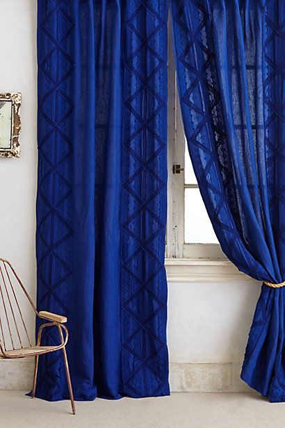 Appliqued Lace Curtain Anthropologie Royal Blue Curtains Royal Blue Bedrooms Blue Curtains