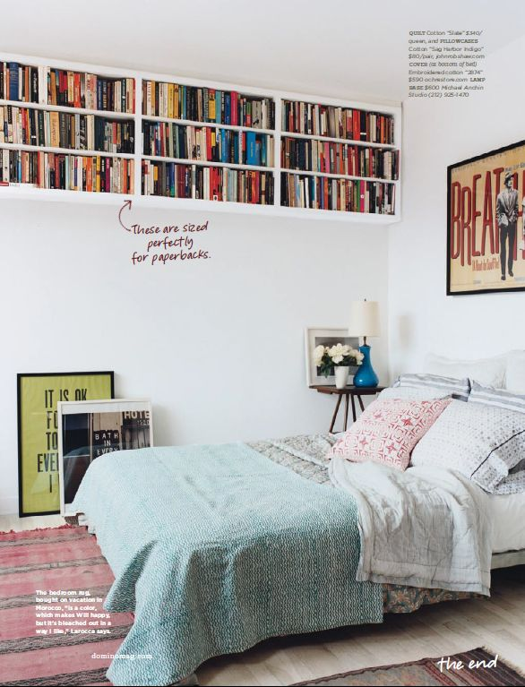book cases perfectly sized for paperbacks #bedroom #cozy
