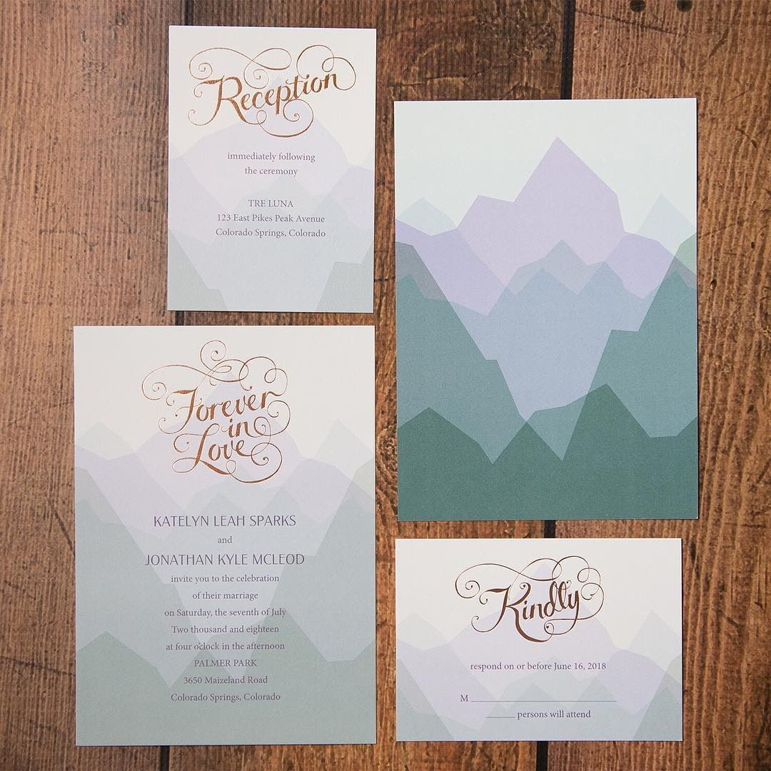 Rose Gold Nature Inspired Wedding Invitation Suite Form Dawninvites So Pretty For A Mountain