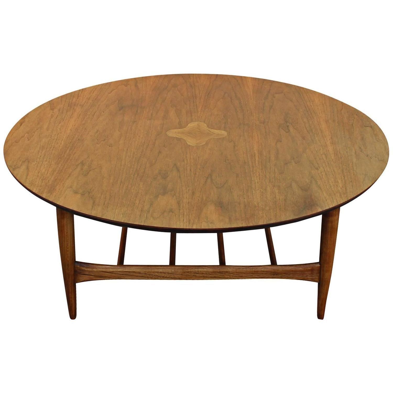 Round lane walnut inlaid coffee table geotapseo Choice Image