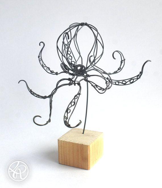 Octopus Iron Wire Sculpture 2 Wire Art Sculpture Wire Sculpture Wire Art