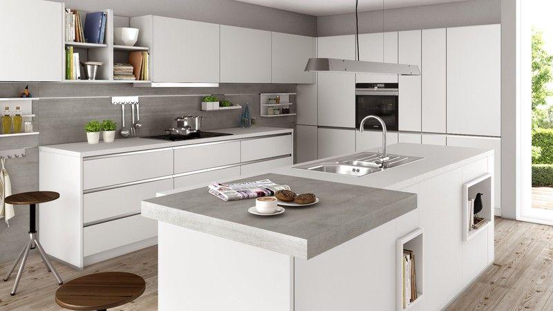 Schüller küchen weiß hochglanz  Schüller Küche, Kristallgrau / Beton Naturgrau Nachbildung | Küche ...