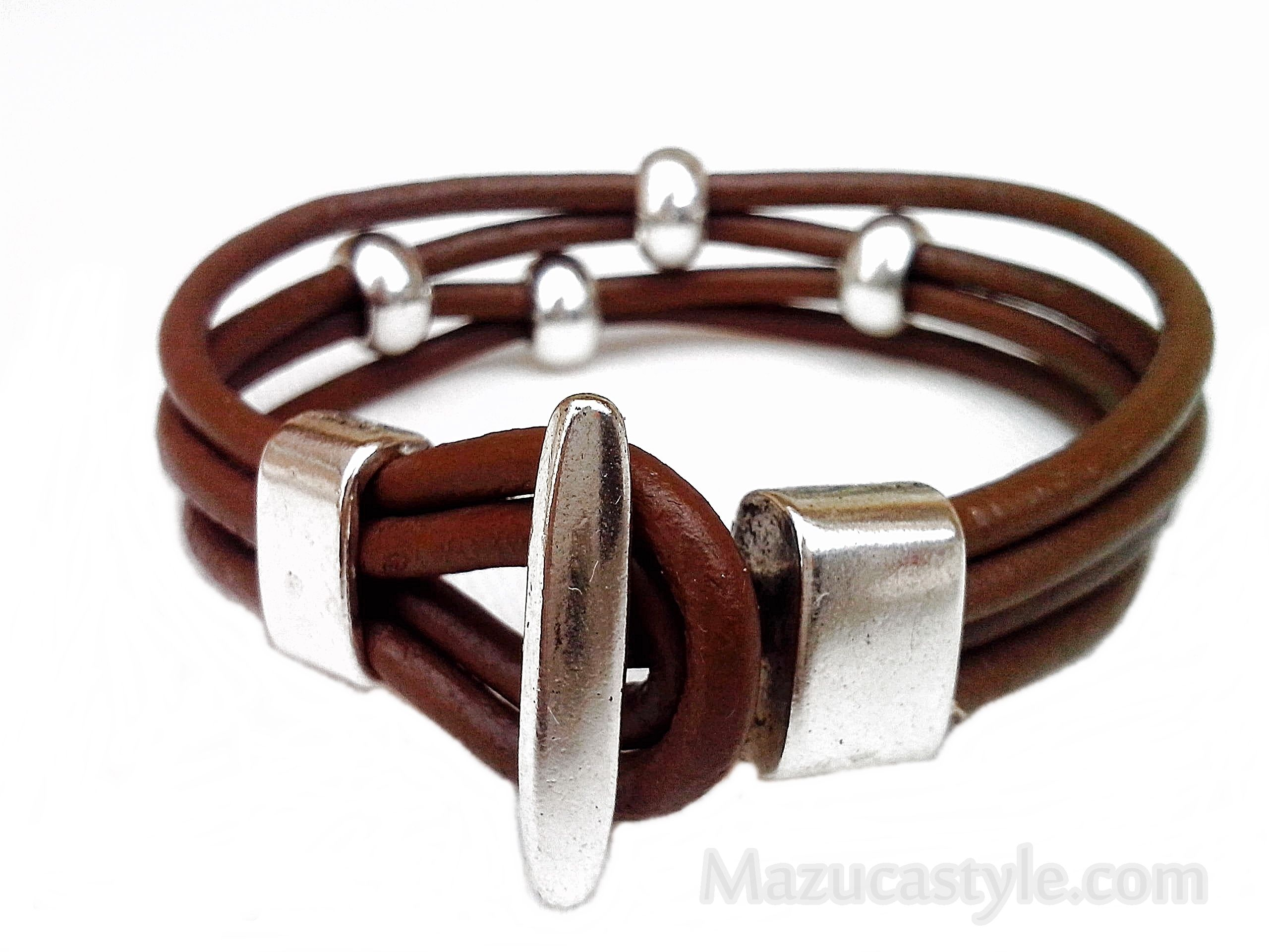 silver tone lil in jewelry studio horse leather product bracelet latigo black curated jewellery bit