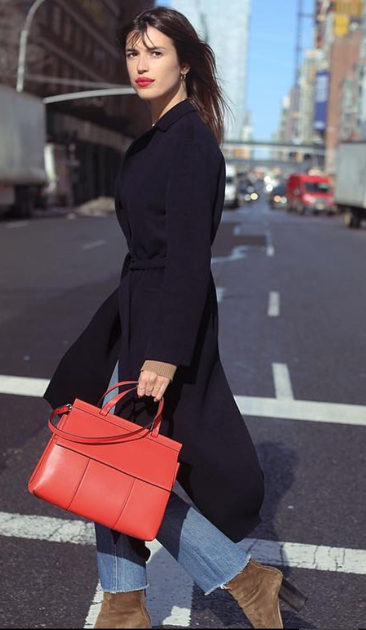 Jeanne Damas in New York with her T Satchel