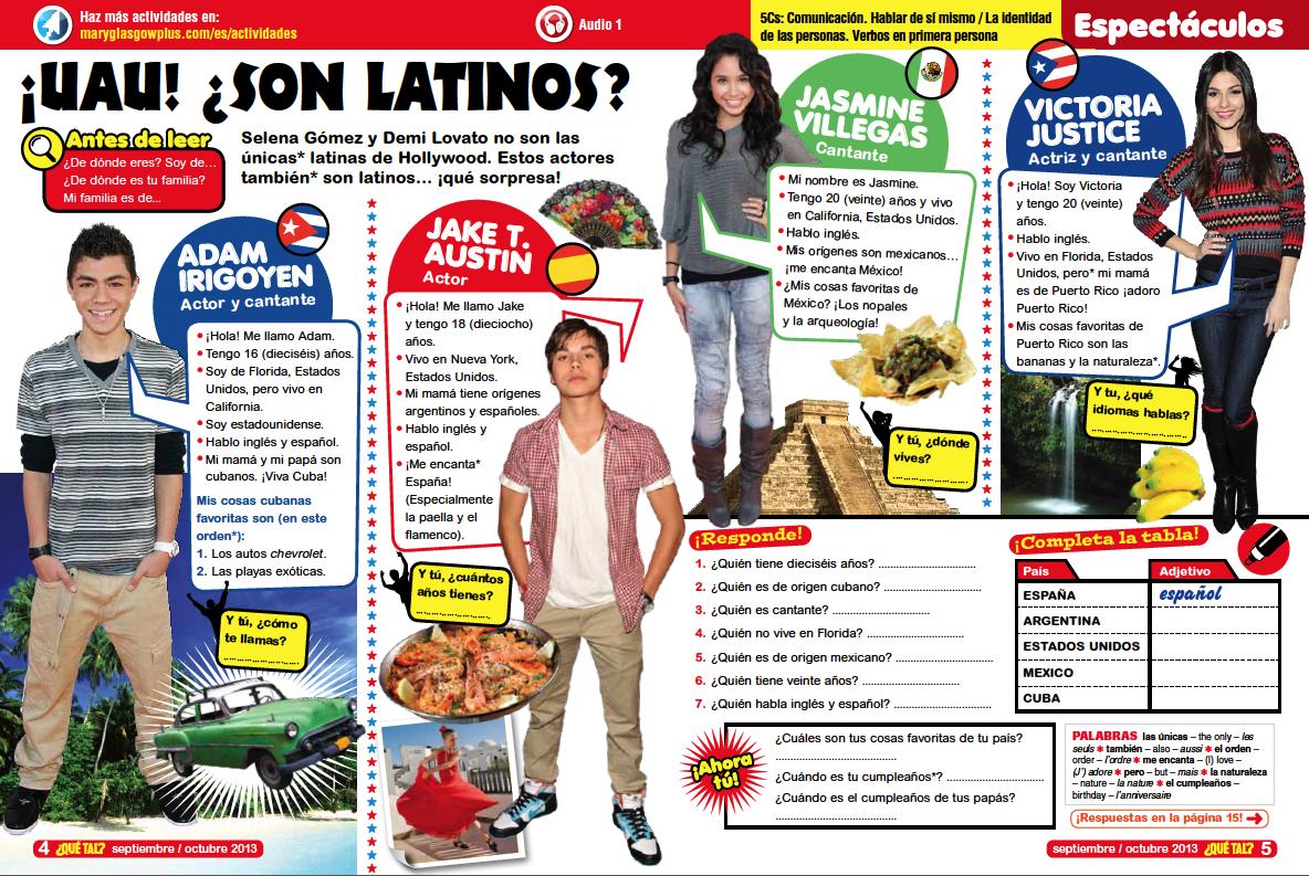 Latin Teen Celebrities Yr7 Level 1 Lesson Plan
