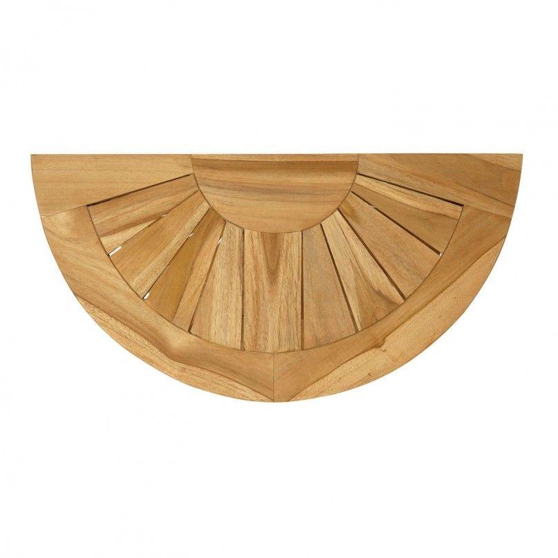 charming Half Round Bath Rug Part - 11: Stylish Half Round Teak Bath Mat For Bathroom Design And Flooring Finish  Ideas