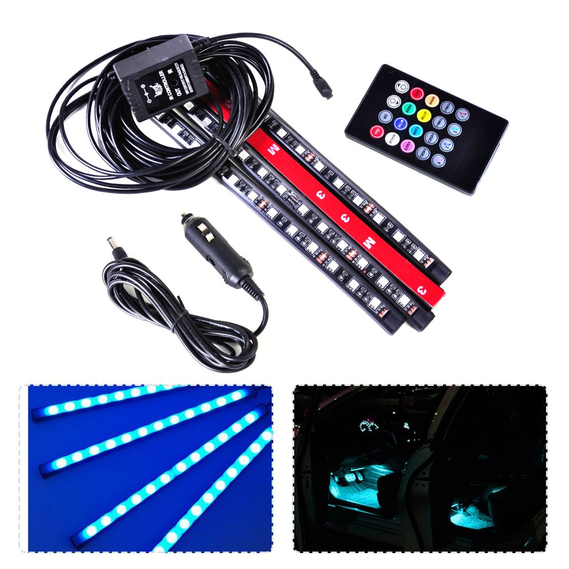 New 12v Led Strip Light Car Interior Atmosphere Light Music Sound 8 Colors Multi Color Decoration Lamp W 12v Led Strip Lights Led Strip Lighting Strip Lighting