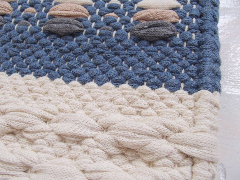 Blue And Off White Rug Small Cotton Reversible Handmade
