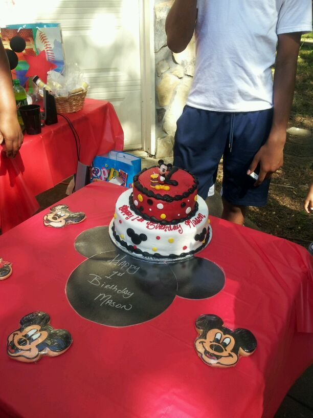 Birthday Cake From Wal Mart And Mickey Mouse Cookies Disney World DIY Placemats Made Black Poster Board We Also Laminated Them
