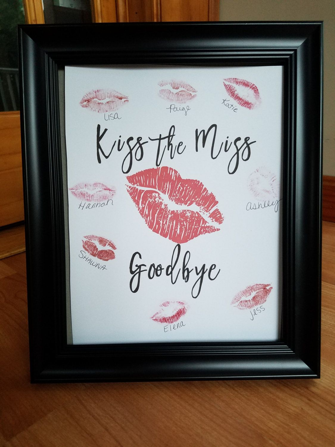 Kiss The Miss Goodbye Sign Bachelorette Bridal Shower