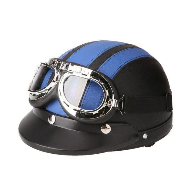 3196c103 Motorcycle Scooter Open Face Half Leather Helmet with Visor UV Goggles Retro  Vintage Style 54-60cm for Security Accessories