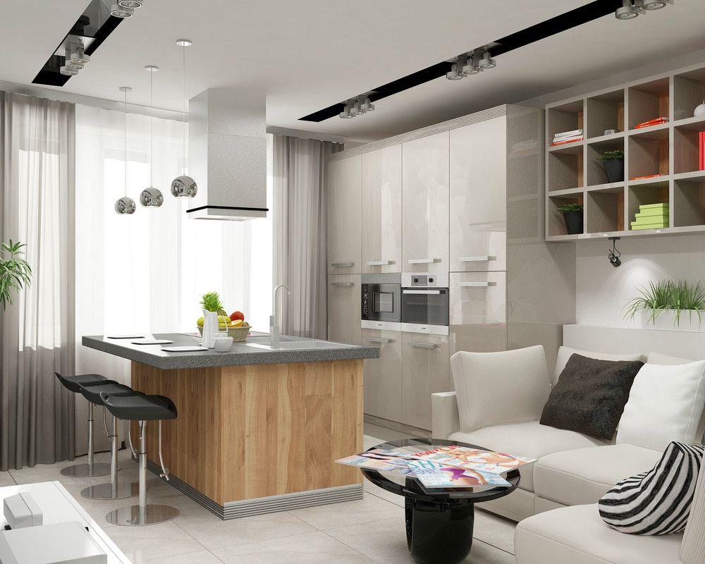 American kitchen and living room - Kitchen And Livingroom With Storage A Perfect Room For A Small Area Kitchen