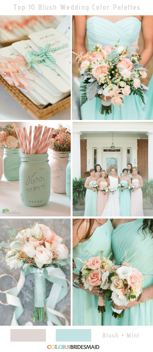 Top 10 Blush Wedding Color Palettes for Your Inspiration is part of Blush wedding colors - blush pink combines well with many other colors  The top 10 blush wedding color palettes to help you create a perfect wedding day to never forget!