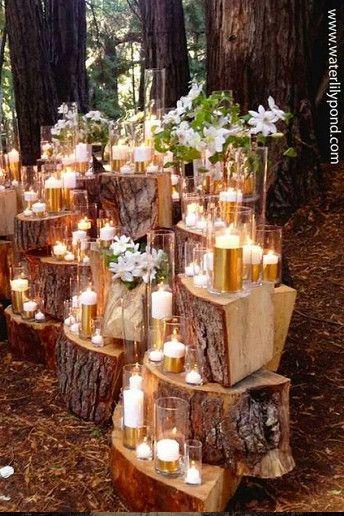 Tolle Deko Idee Mit Holz Und Kerzen Hochzeit Deko