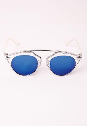 Missguided - Lunettes de soleil bleues effet miroir monture métallique ded2709591d8