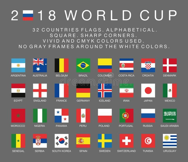 Fifa World Cup 2018 Flags Of 32 Countries Alphabetical Square Sharp Corners Sponsored Flags Alphabetical Countries Fifa World Cup World Cup Fifa