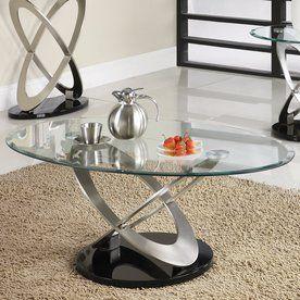 Homelegance Firth Black/Chrome Oval Coffee Table