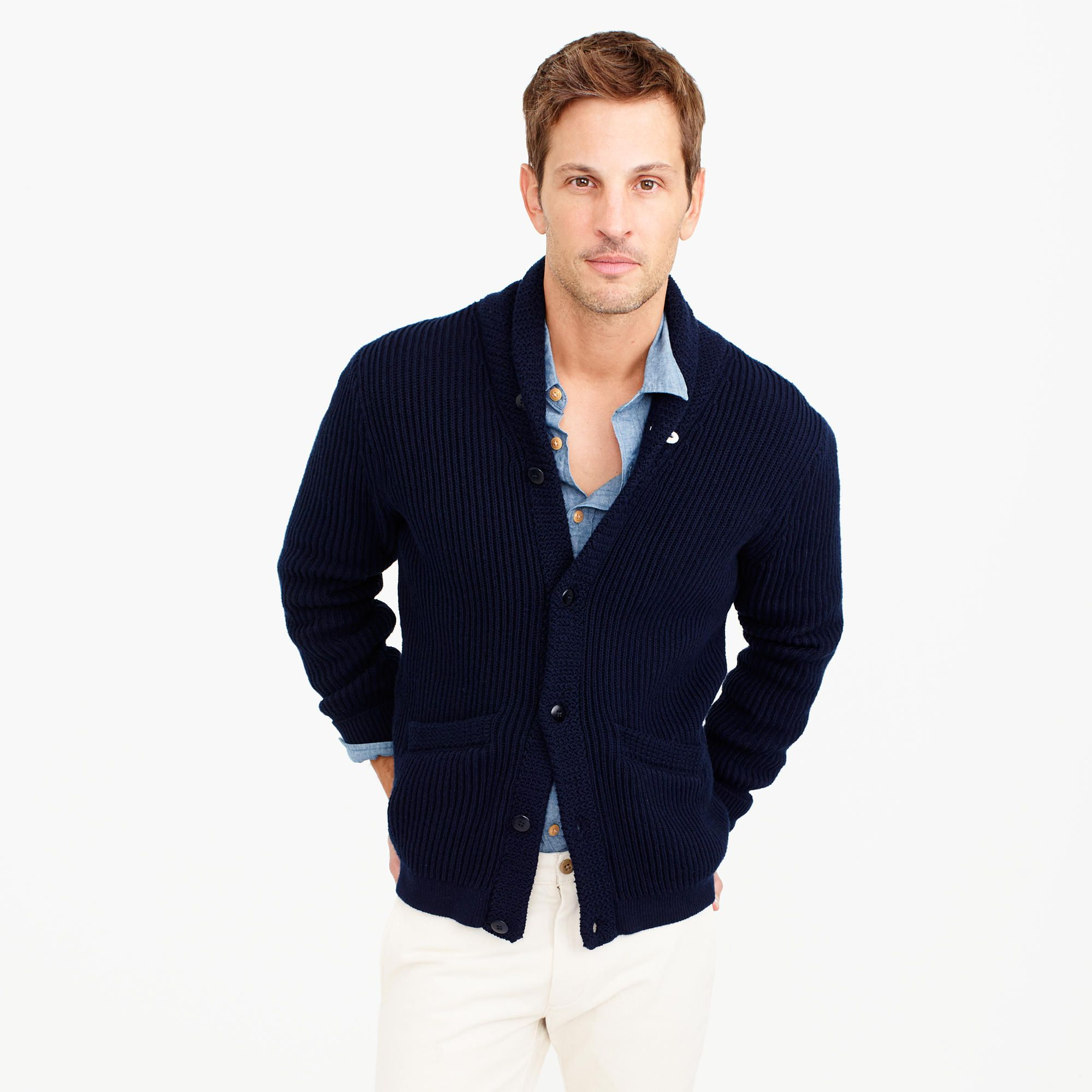 J. Crew cotton shawl-collar cardigan sweater in navy ($118) | wear ...