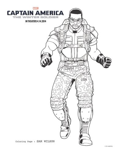 Captain America The Winter Soldier Sam Wilson Coloring