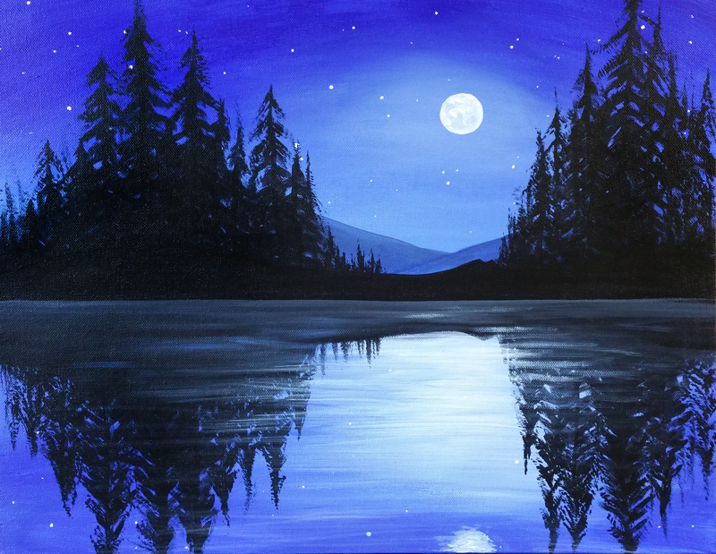 Paint Night Idea Silhouette Painting Night Painting Landscape Paintings