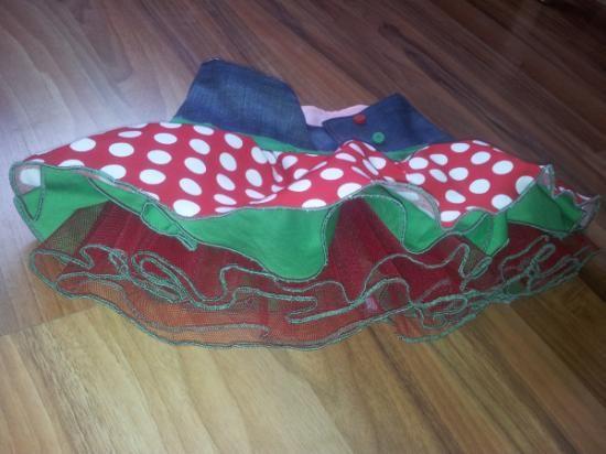 falda infantil modelo flamenco clown  tul,vaquero,popelin cosido